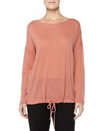 Mercerized Cashmere-Blend Boat-Neck Top, Blush