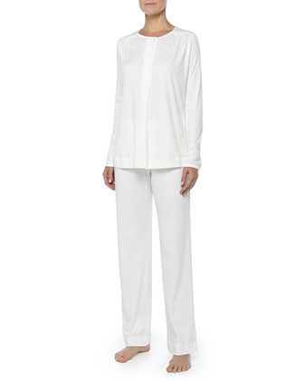 Bronx Mercerized Cotton Pajama Set, Off White