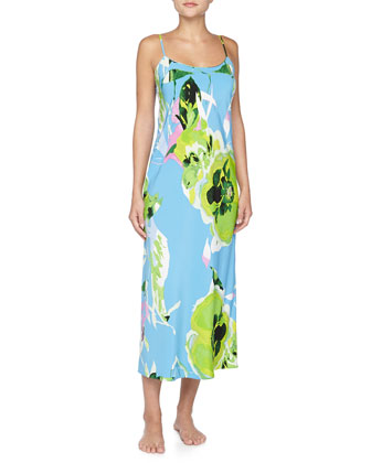 Lana Floral-Print Crepe De Chine Long Gown, Periwinkle