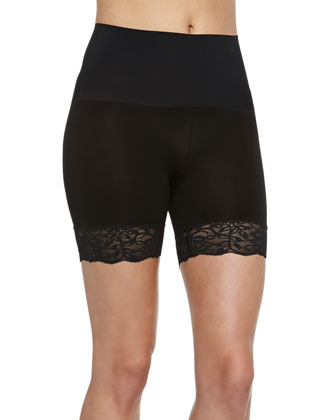 Lace-Trimmed Control Shorts, Black