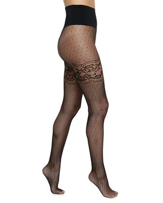 Heidi Faux Thigh-High Fishnet Tights, Black