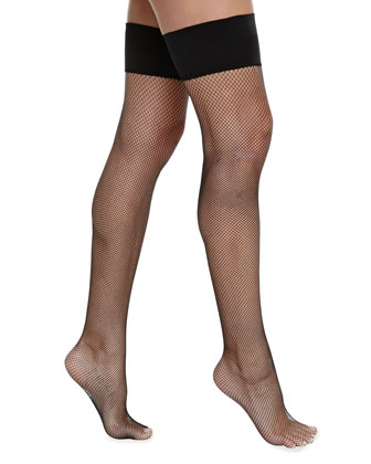 Up All Night Fishnet Thigh-High Stockings, Black