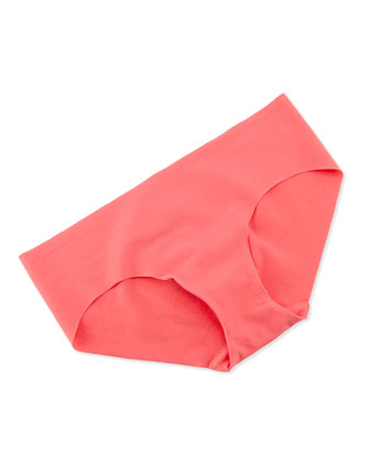 Seamless Cotton Bikini Briefs, Hot Coral
