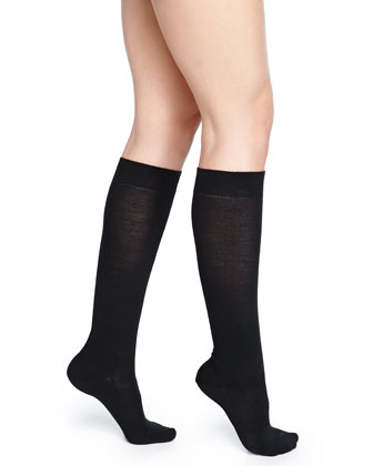 Wool-Blend Knee-High Socks, Black