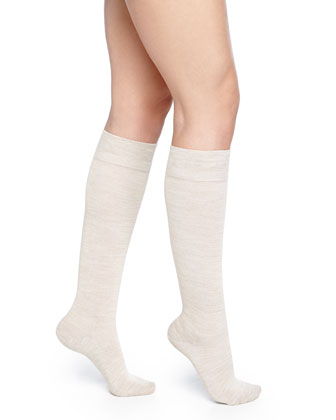 Wool-Blend Knee-High Socks, Linen Melange