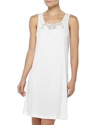 Queens Guipure Lace-Inset Tank Gown, Off White