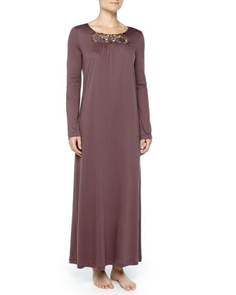 Queens Guipure Lace-Inset Gown, Peppercorn