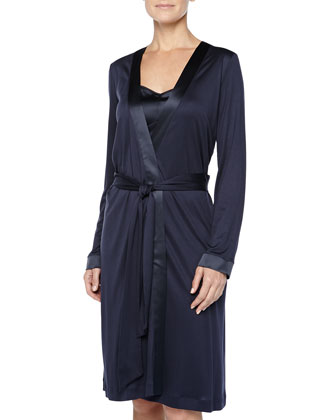 Broadway Satin-Trimmed Chemise & Grand Central Robe, Ink