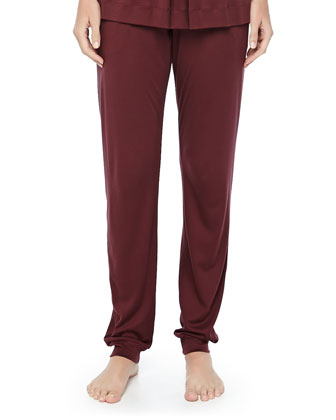 Tribeca Short-Sleeve Inverted-Pleat Top & Jersey Pleated Pants, Maroon