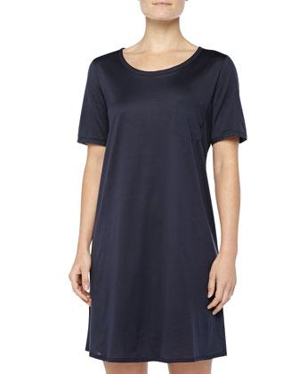 Cotton Deluxe Short-Sleeve Big Sleepshirt, Ink