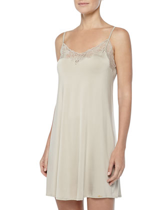 Universe Of Hanro Lace-Trimmed Chemise, Gold/Gray