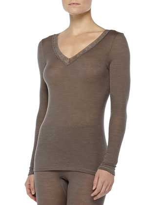 Long-Sleeve Lace-Trimmed Wool-Silk Tee, Dusty Olive