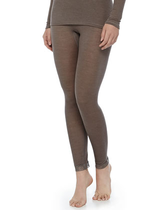 Lace-Trimmed Wool-Silk Leggings, Dusty Olive
