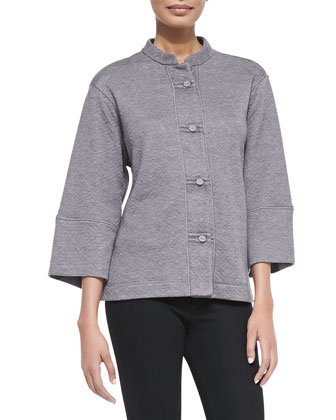 Beijing Quilted Button-Front Jacket, Heather Gray