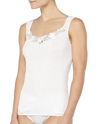 Queens Guipure Lace-Inset Tank Top, Off White
