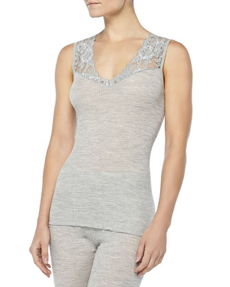 Met Lace-Inset Wool-Silk Tank Top, Light Melange