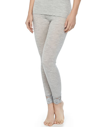 Met Lace-Trimmed Wool-Silk Leggings, Light Melange