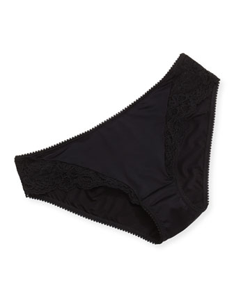 East River Lace-Trimmed Bikini Briefs, Black