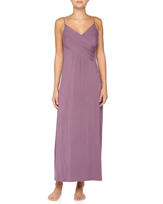 Crossover Gathered Liquid Jersey Long Gown, Purple Twilight