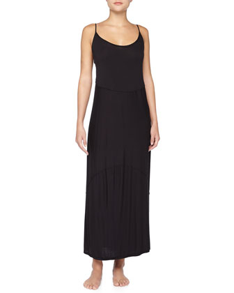 Raw-Edge Seamed Liquid Jersey Long Gown, Black