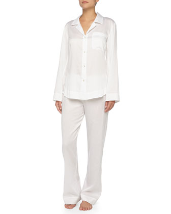 Button-Front Sateen Pajama Set, White
