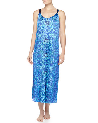 Scroll-Print Charmeuse Long Gown, Blue