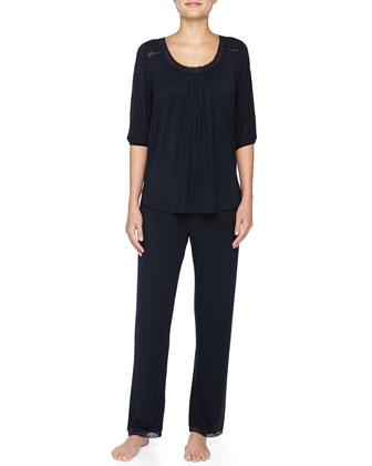 Lace-Inset Modal Pajama Set, Twilight Jewel