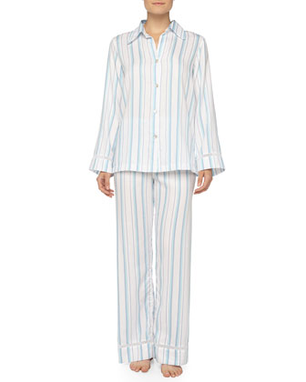 Floral Cotton-Jacquard Striped Pajama Set, Blue/White