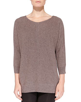 Cashmere Stitch-Front Crewneck Sweater