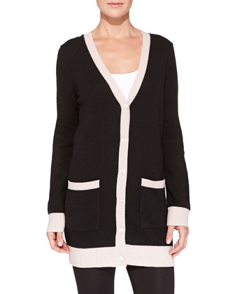 Cashmere Two-Tone Button-Front Boyfriend Cardigan