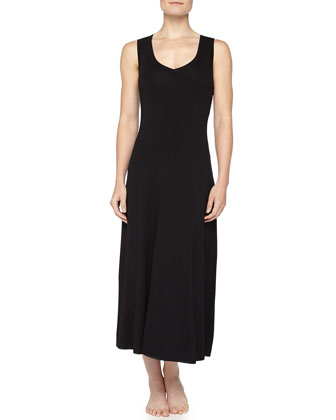 Soft Jersey V-Neck Long Gown, Black