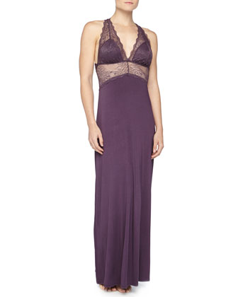Eternal Love Floral-Lace Night Gown, Blackberry