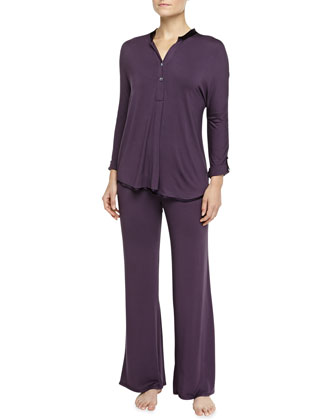 Tailored Satin-Trimmed Pajama Set, Blackberry