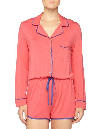 Short Contrast-Trimmed Button-Front Jumpsuit, Paradise Pink