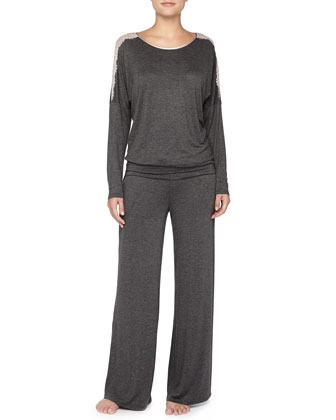 All Of Me Dolman Lace-Detailed Pajama Set, Charcoal/Oyster