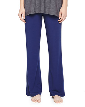 Jersey Drawstring Wide-Leg Pants, Deep Sea