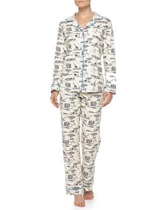 Safari Toile Jersey Pajama Set, Black/White/Blue