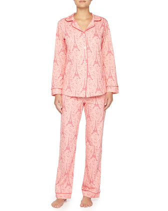 Eiffel Tower-Print Jersey Pajama Set, Pink