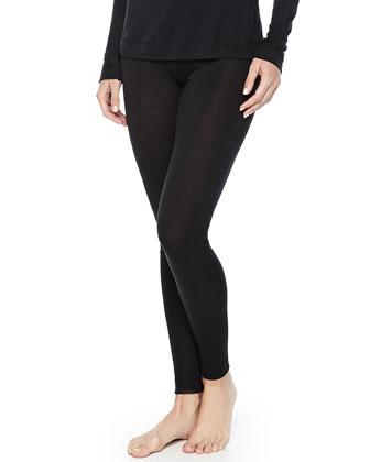 Cashmere-Silk Blend Leggings, Black