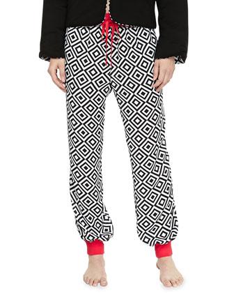 Reversible Quilted Puff Jacket & Prism-Print Harem Pants