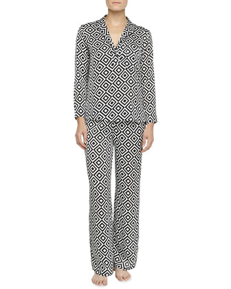 Prism-Print Pop Over Pajama Set, Black/White