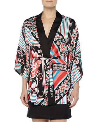 Valentina Floral-Print Satin Wrap Robe & Satin & Floral-Lace Chemise