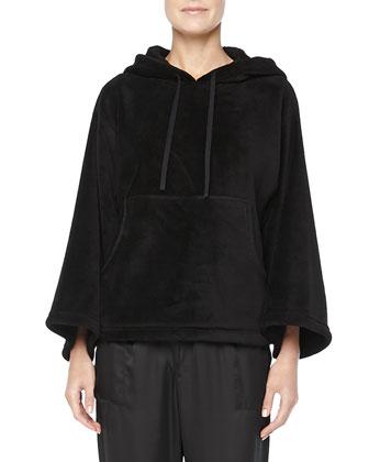 Roza Satin Harem Pants & Hooded Fleece Popover, Black