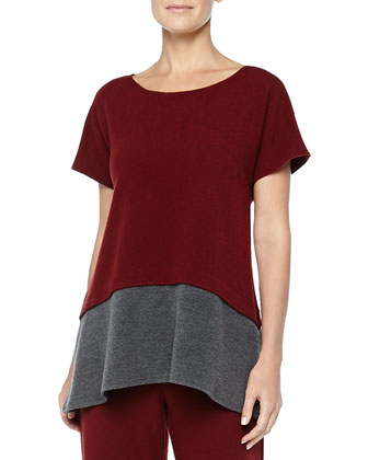 Two-Tone Brushed Jersey Top, Red/Gray
