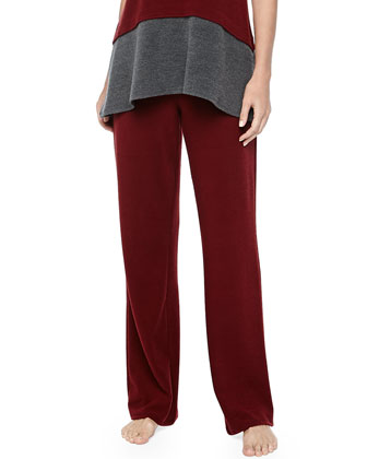 Drawstring Brushed Jersey Pants, Red