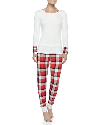 Cozy Classic Plaid Pajama Set, Red/Cream