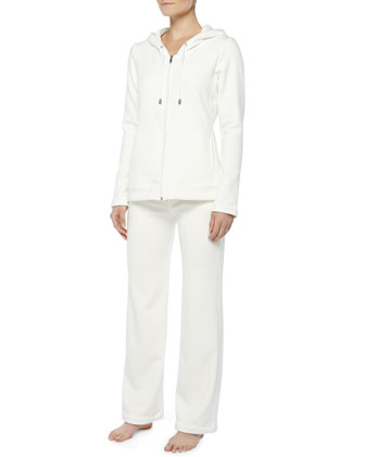 Double-Knit Hooded Pajama Set, Cream