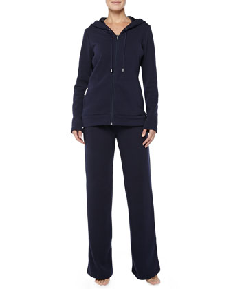 Double-Knit Hooded Pajama Set, Navy