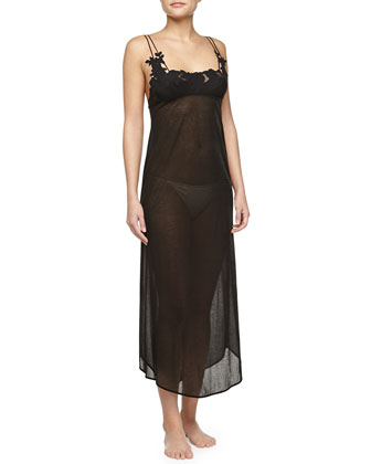 Ninfea Lace-Trimmed Long Gown, Black