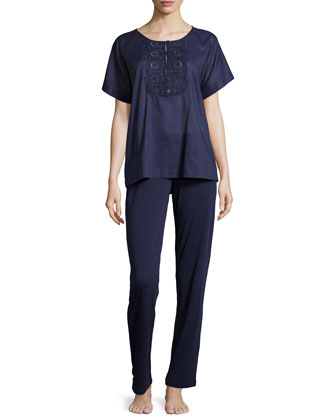 Sangallo Eyelet Pajama Set, Blue